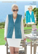 Sirdar Cotton DK Knitting Pattern - 7217 Cardigan and Waistcoat